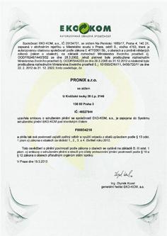 EKO-KOM Certificate